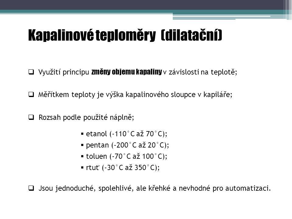 Kapalinové teploměry (dilatační) rezervoár kapilára stupnice baňka Obrázek 2.1.