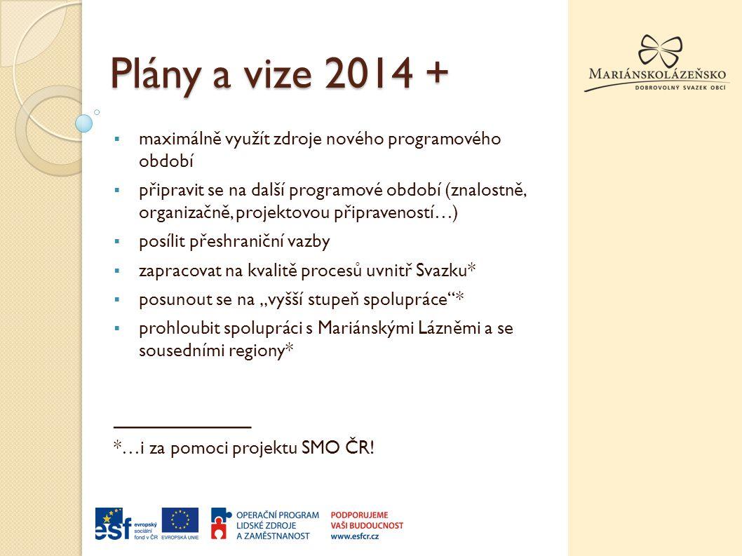 """Plány a vize 2014 +  maximálně využít zdroje nového programového období  připravit se na další programové období (znalostně, organizačně, projektovou připraveností…)  posílit přeshraniční vazby  zapracovat na kvalitě procesů uvnitř Svazku*  posunout se na """"vyšší stupeň spolupráce *  prohloubit spolupráci s Mariánskými Lázněmi a se sousedními regiony* _________ *…i za pomoci projektu SMO ČR!"""