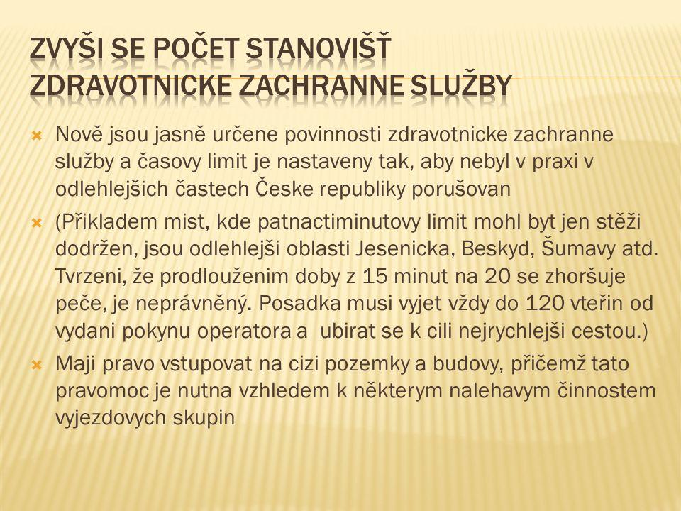  Nově jsou jasně určene povinnosti zdravotnicke zachranne služby a časovy limit je nastaveny tak, aby nebyl v praxi v odlehlejšich častech Česke repu