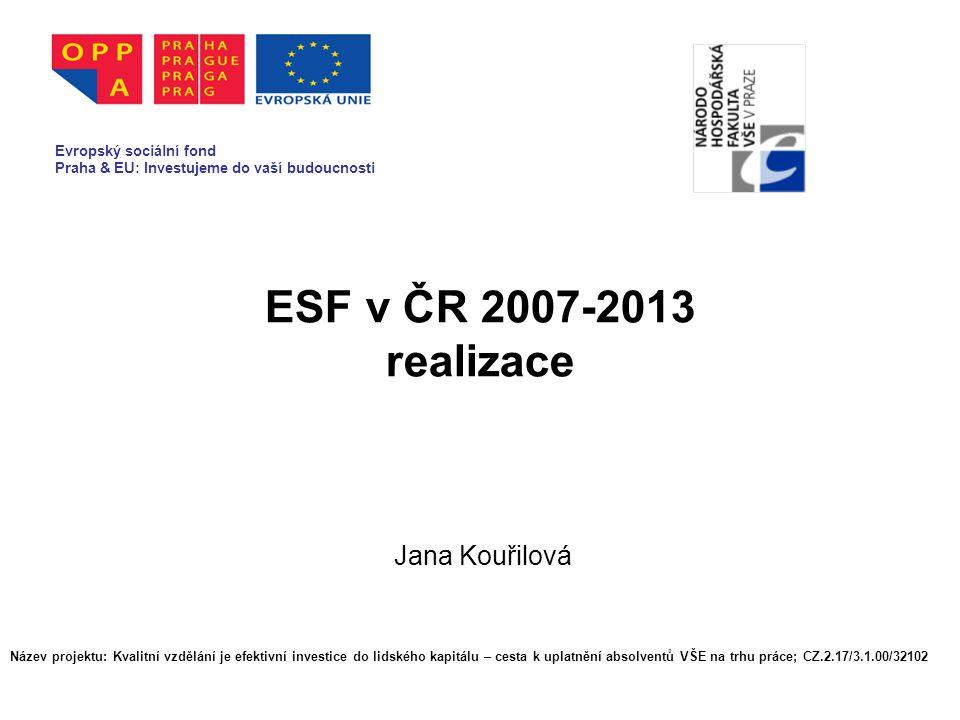 ESF v ČR 2007-2013 realizace Jana Kouřilová Evropský sociální fond Praha & EU: Investujeme do vaší budoucnosti Název projektu: Kvalitní vzdělání je efektivní investice do lidského kapitálu – cesta k uplatnění absolventů VŠE na trhu práce; CZ.2.17/3.1.00/32102