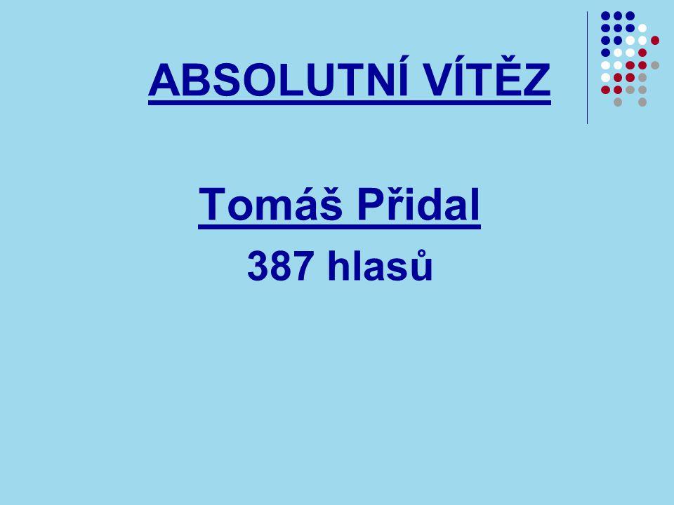 ABSOLUTNÍ VÍTĚZ Tomáš Přidal 387 hlasů