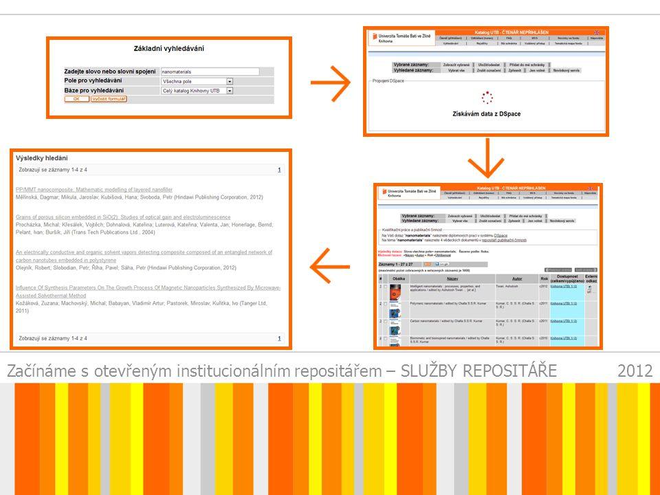 Začínáme s otevřeným institucionálním repositářem – SLUŽBY REPOSITÁŘE2012