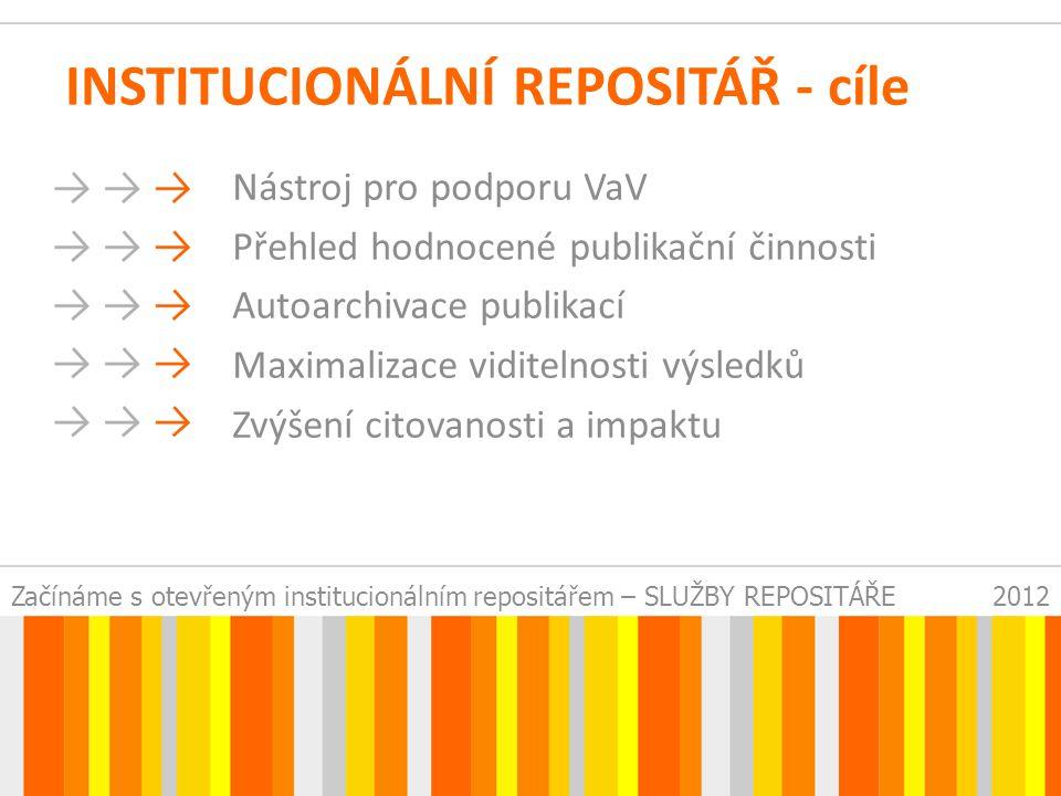 Začínáme s otevřeným institucionálním repositářem – SLUŽBY REPOSITÁŘE2012 INSTITUCIONÁLNÍ REPOSITÁŘ - cíle Nástroj pro podporu VaV Přehled hodnocené publikační činnosti Autoarchivace publikací Maximalizace viditelnosti výsledků Zvýšení citovanosti a impaktu