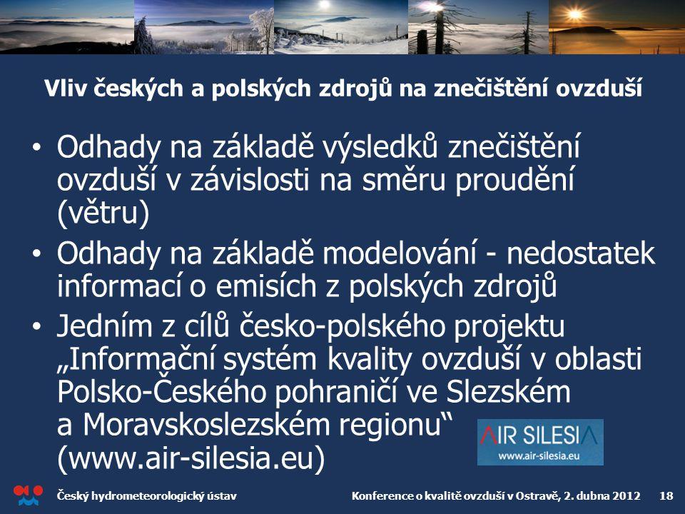 Český hydrometeorologický ústav Konference o kvalitě ovzduší v Ostravě, 2. dubna 2012 18 Vliv českých a polských zdrojů na znečištění ovzduší Odhady n