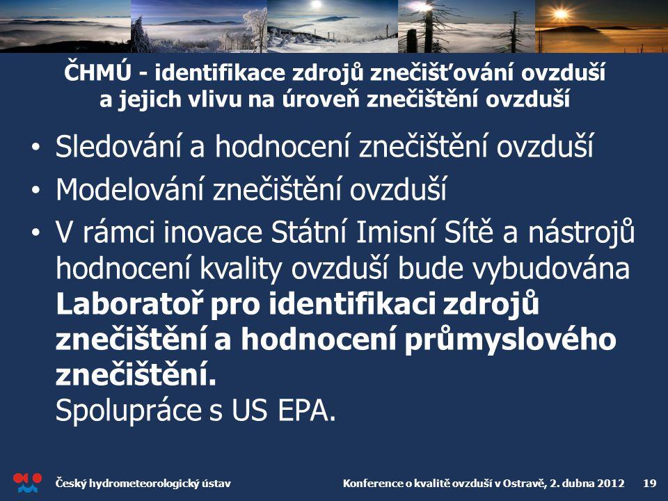 Český hydrometeorologický ústav Konference o kvalitě ovzduší v Ostravě, 2. dubna 2012 19 ČHMÚ - identifikace zdrojů znečišťování ovzduší a jejich vliv
