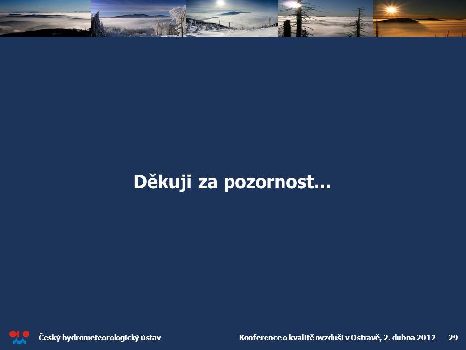 Český hydrometeorologický ústav Konference o kvalitě ovzduší v Ostravě, 2. dubna 2012 29 Děkuji za pozornost…