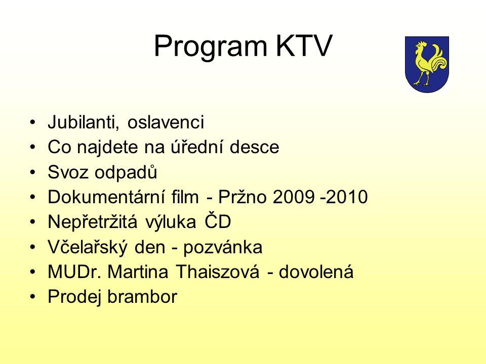 Program KTV Jubilanti, oslavenci Co najdete na úřední desce Svoz odpadů Dokumentární film - Pržno 2009 -2010 Nepřetržitá výluka ČD Včelařský den - poz