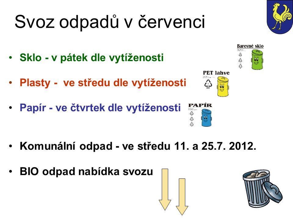 Svoz odpadů v červenci Sklo - v pátek dle vytíženosti Plasty - ve středu dle vytíženosti Papír - ve čtvrtek dle vytíženosti Komunální odpad - ve střed
