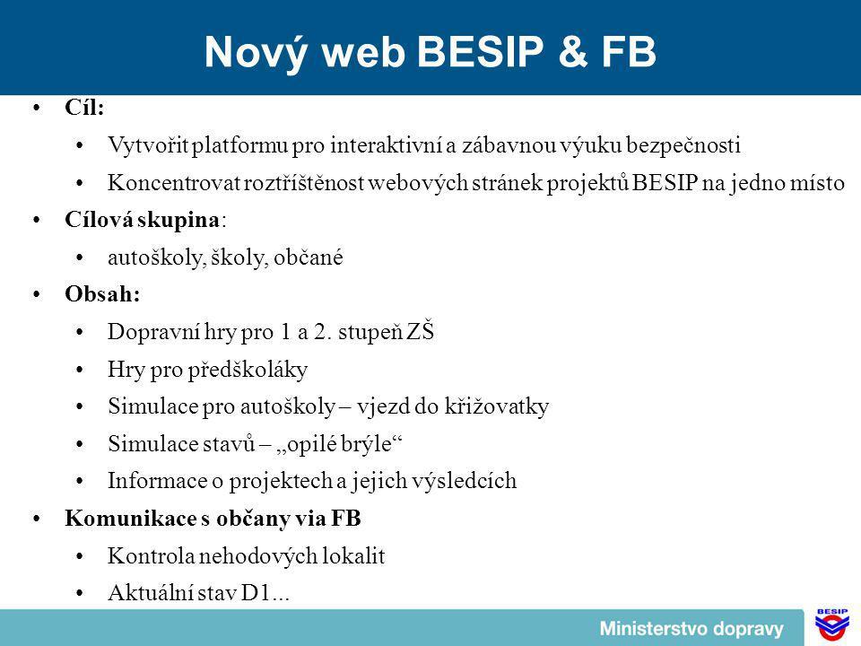 Nový web BESIP & FB Cíl: Vytvořit platformu pro interaktivní a zábavnou výuku bezpečnosti Koncentrovat roztříštěnost webových stránek projektů BESIP na jedno místo Cílová skupina: autoškoly, školy, občané Obsah: Dopravní hry pro 1 a 2.