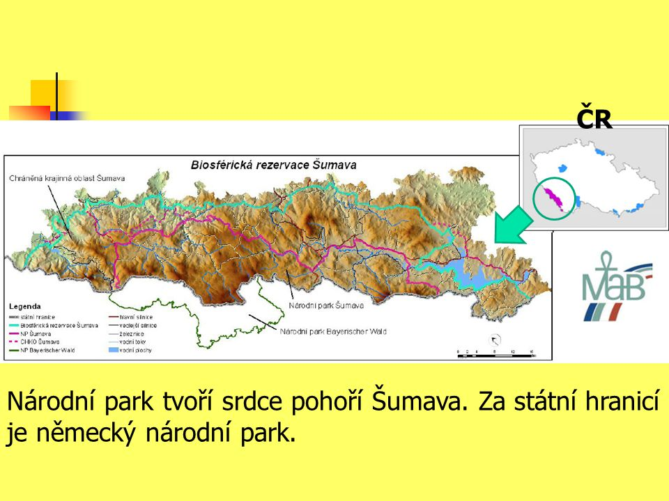 ČR Národní park tvoří srdce pohoří Šumava. Za státní hranicí je německý národní park.