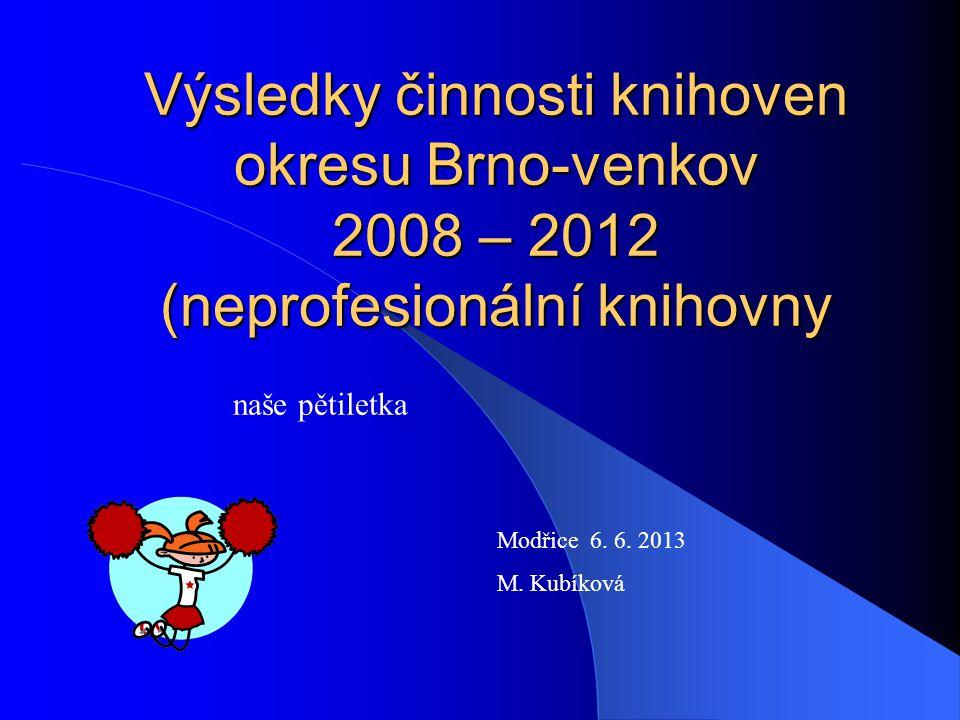 Výsledky činnosti knihoven okresu Brno-venkov 2008 – 2012 (neprofesionální knihovny naše pětiletka Modřice 6. 6. 2013 M. Kubíková