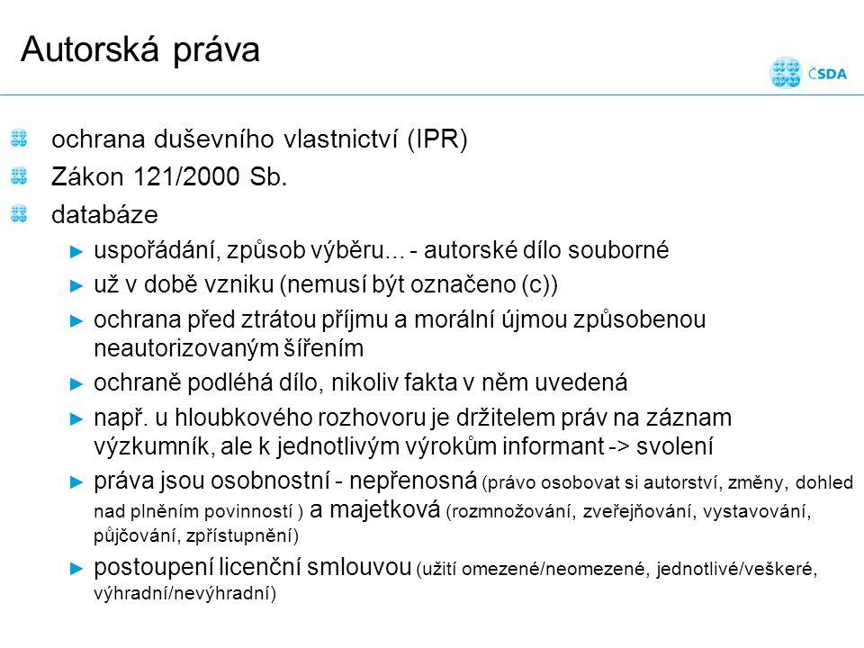 Snímek 19 Autorská práva ochrana duševního vlastnictví (IPR) Zákon 121/2000 Sb.