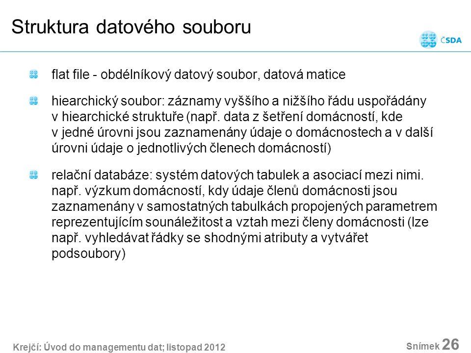 Krejčí: Úvod do managementu dat; listopad 2012 Snímek 26 Struktura datového souboru flat file - obdélníkový datový soubor, datová matice hiearchický soubor: záznamy vyššího a nižšího řádu uspořádány v hiearchické struktuře (např.