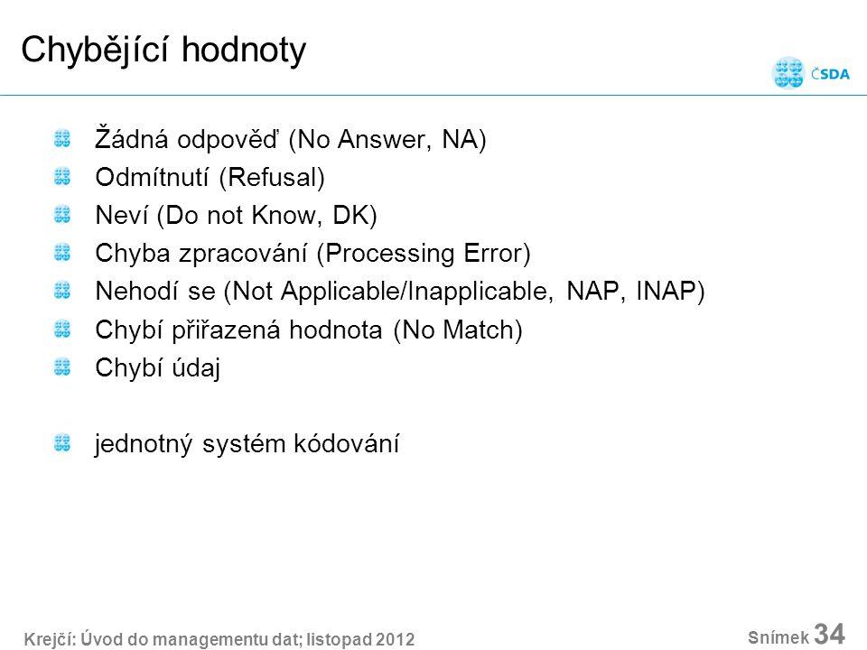 Krejčí: Úvod do managementu dat; listopad 2012 Snímek 34 Chybějící hodnoty Žádná odpověď (No Answer, NA) Odmítnutí (Refusal) Neví (Do not Know, DK) Chyba zpracování (Processing Error) Nehodí se (Not Applicable/Inapplicable, NAP, INAP) Chybí přiřazená hodnota (No Match) Chybí údaj jednotný systém kódování