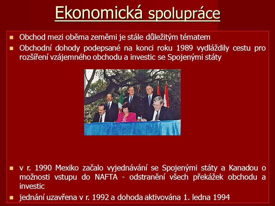 Ekonomická spolupráce Obchod mezi oběma zeměmi je stále důležitým tématem Obchodní dohody podepsané na konci roku 1989 vydláždily cestu pro rozšíření