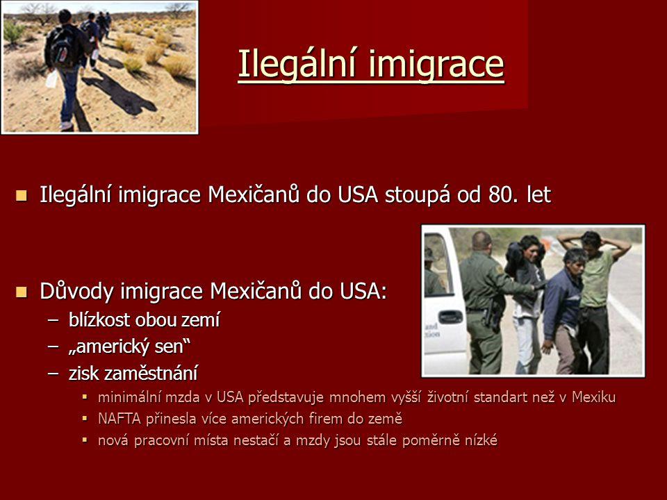 Ilegální imigrace Ilegální imigrace Mexičanů do USA stoupá od 80. let Ilegální imigrace Mexičanů do USA stoupá od 80. let Důvody imigrace Mexičanů do