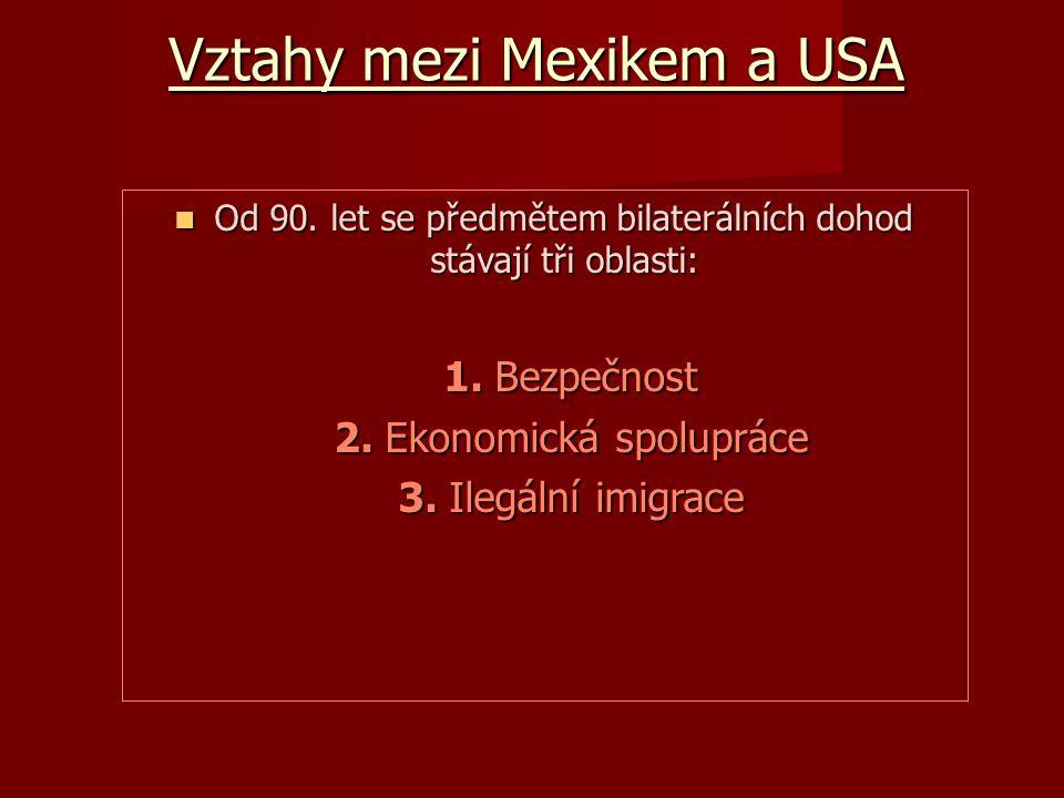 Vztahy mezi Mexikem a USA Od 90. let se předmětem bilaterálních dohod stávají tři oblasti: Od 90.