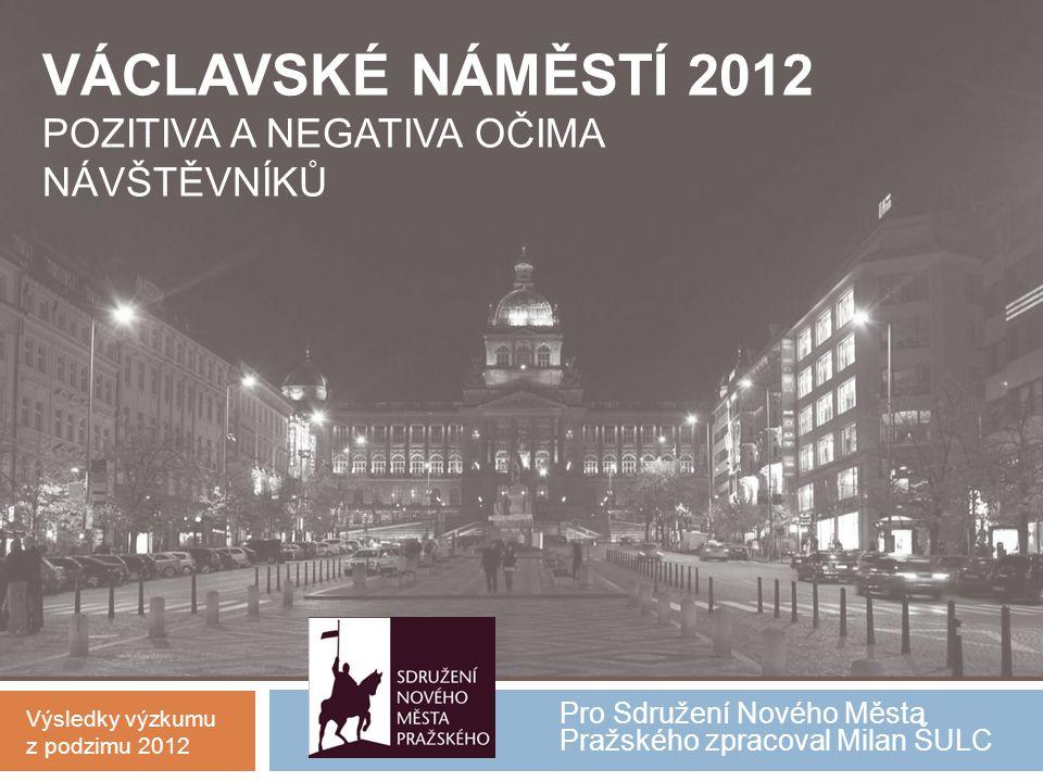 Pro Sdružení Nového Města Pražského zpracoval Milan ŠULC VÁCLAVSKÉ NÁMĚSTÍ 2012 POZITIVA A NEGATIVA OČIMA NÁVŠTĚVNÍKŮ Výsledky výzkumu z podzimu 2012