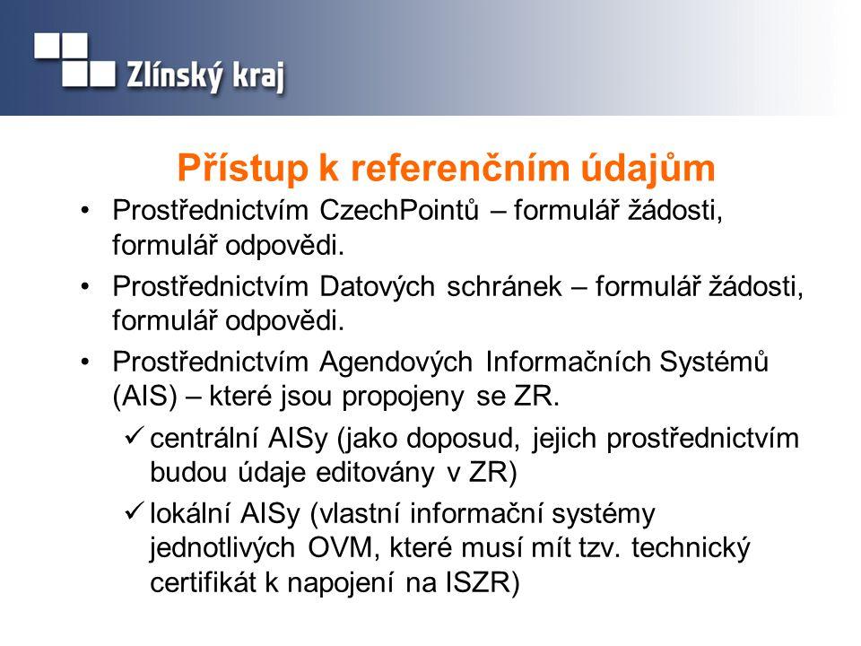 Přístup k referenčním údajům Prostřednictvím CzechPointů – formulář žádosti, formulář odpovědi. Prostřednictvím Datových schránek – formulář žádosti,