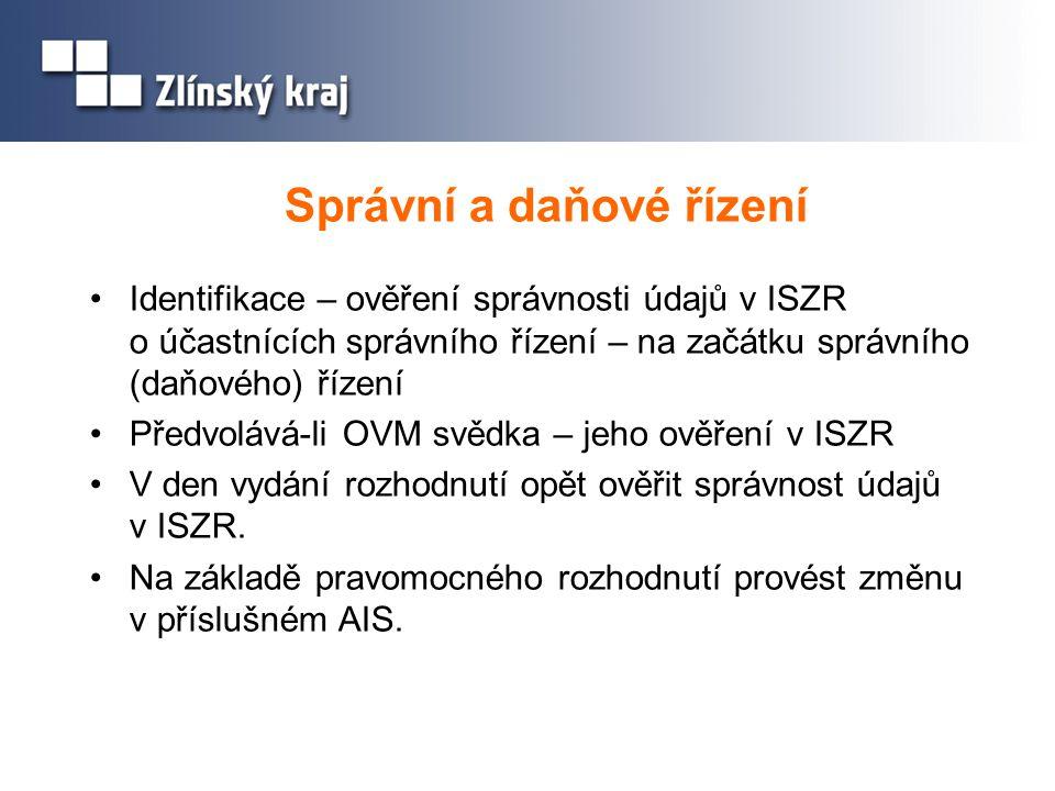 Správní a daňové řízení Identifikace – ověření správnosti údajů v ISZR o účastnících správního řízení – na začátku správního (daňového) řízení Předvol
