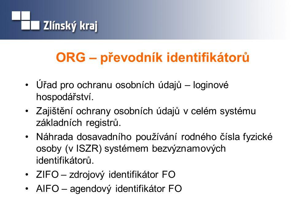 ORG – převodník identifikátorů Úřad pro ochranu osobních údajů – loginové hospodářství. Zajištění ochrany osobních údajů v celém systému základních re