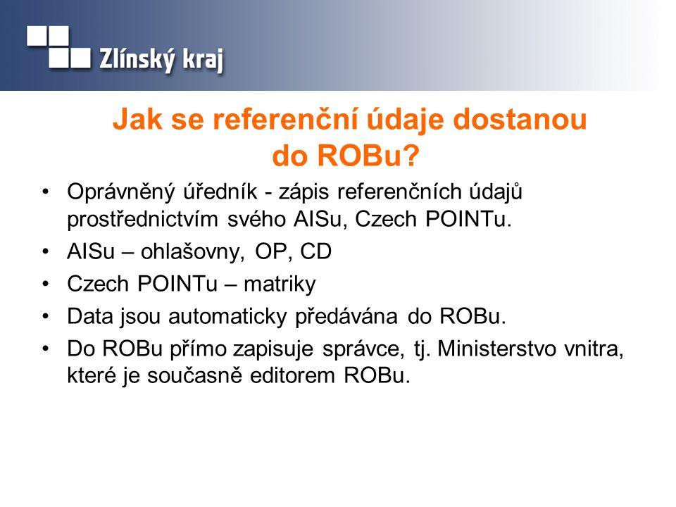 Jak se referenční údaje dostanou do ROBu? Oprávněný úředník - zápis referenčních údajů prostřednictvím svého AISu, Czech POINTu. AISu – ohlašovny, OP,