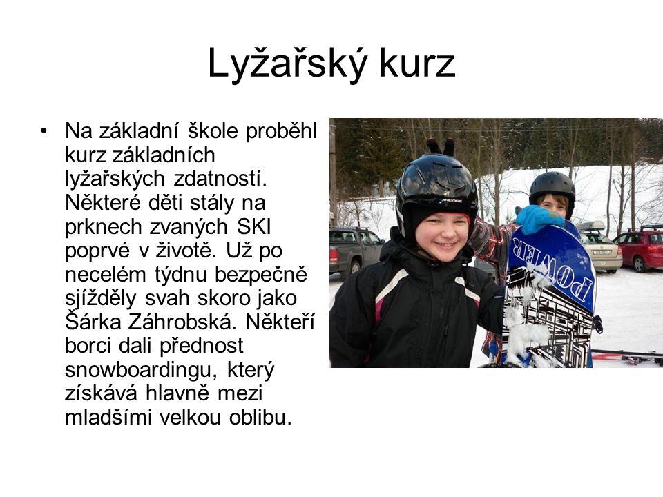 Lyžařský kurz Na základní škole proběhl kurz základních lyžařských zdatností. Některé děti stály na prknech zvaných SKI poprvé v životě. Už po necelém