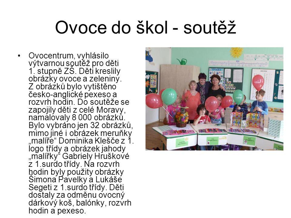 Ovoce do škol - soutěž Ovocentrum, vyhlásilo výtvarnou soutěž pro děti 1. stupně ZŠ. Děti kreslily obrázky ovoce a zeleniny. Z obrázků bylo vytištěno
