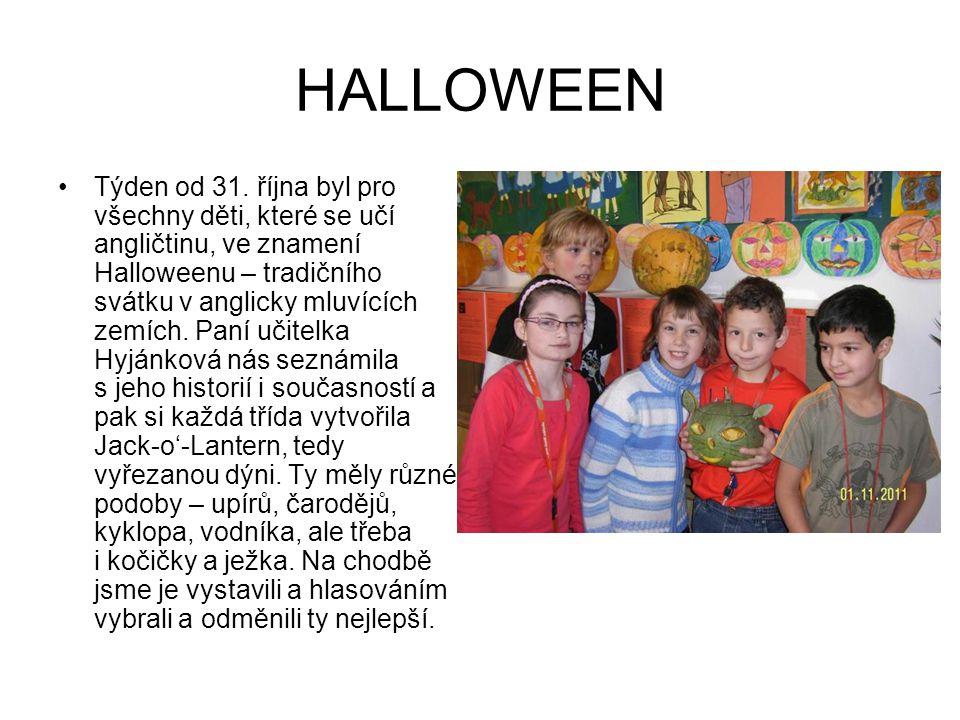HALLOWEEN Týden od 31. října byl pro všechny děti, které se učí angličtinu, ve znamení Halloweenu – tradičního svátku v anglicky mluvících zemích. Pan