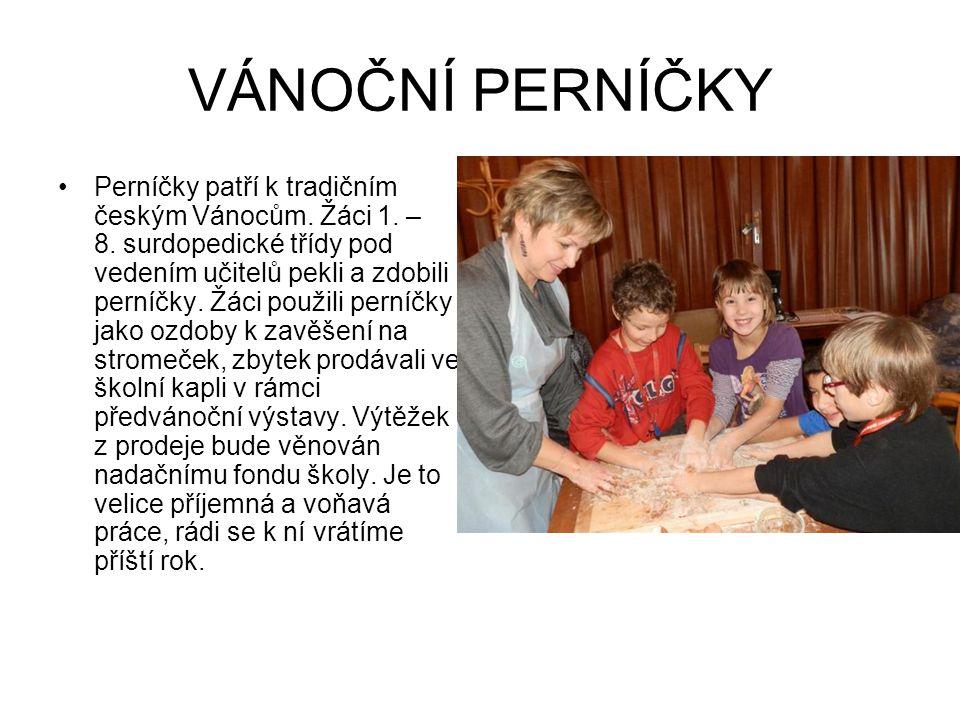 VÁNOČNÍ PERNÍČKY Perníčky patří k tradičním českým Vánocům. Žáci 1. – 8. surdopedické třídy pod vedením učitelů pekli a zdobili perníčky. Žáci použili