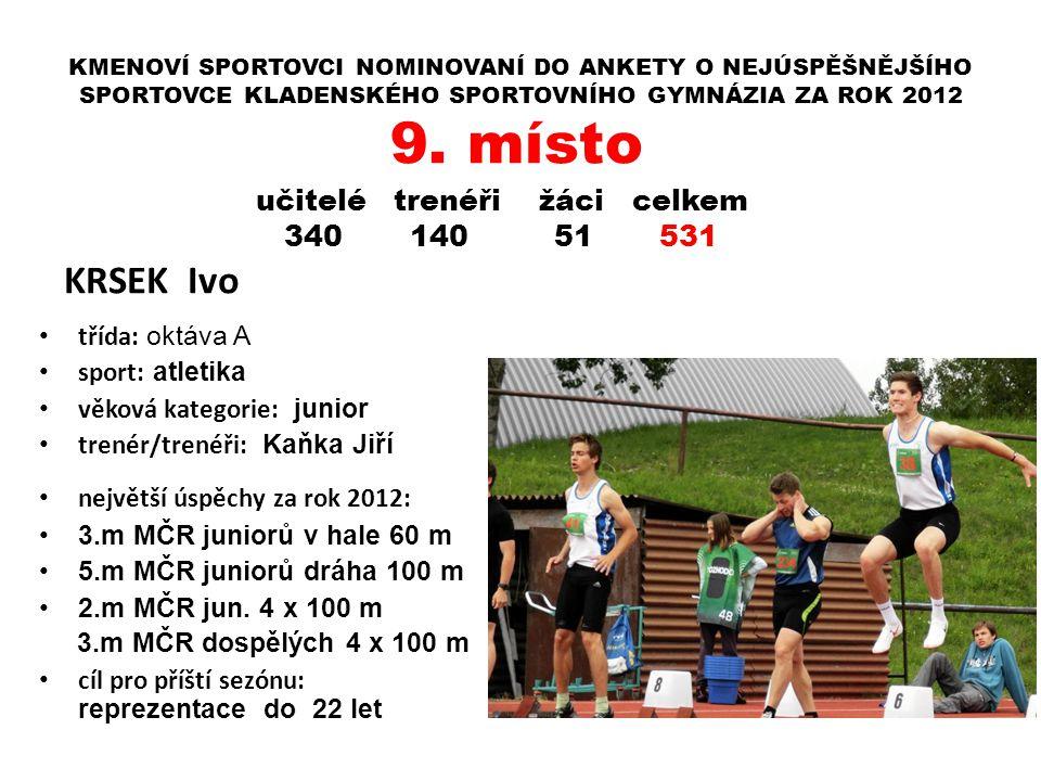 KMENOVÍ SPORTOVCI NOMINOVANÍ DO ANKETY O NEJÚSPĚŠNĚJŠÍHO SPORTOVCE KLADENSKÉHO SPORTOVNÍHO GYMNÁZIA ZA ROK 2012 KRSEK Ivo třída: oktáva A sport: atlet