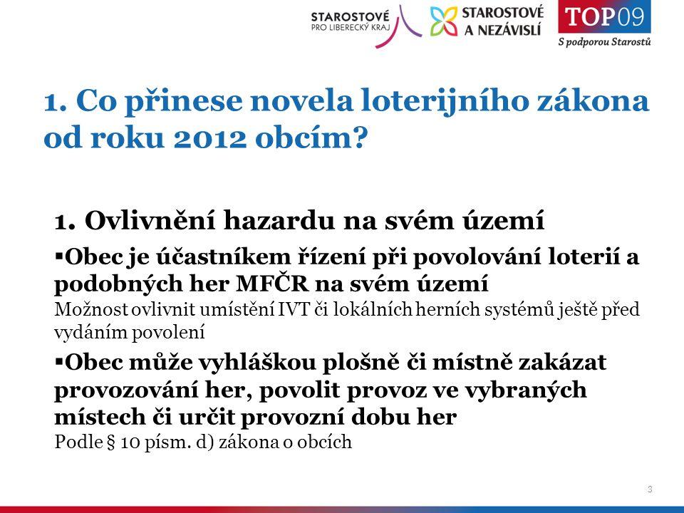 4 1.Co přinese novela loterijního zákona od roku 2012 obcím.