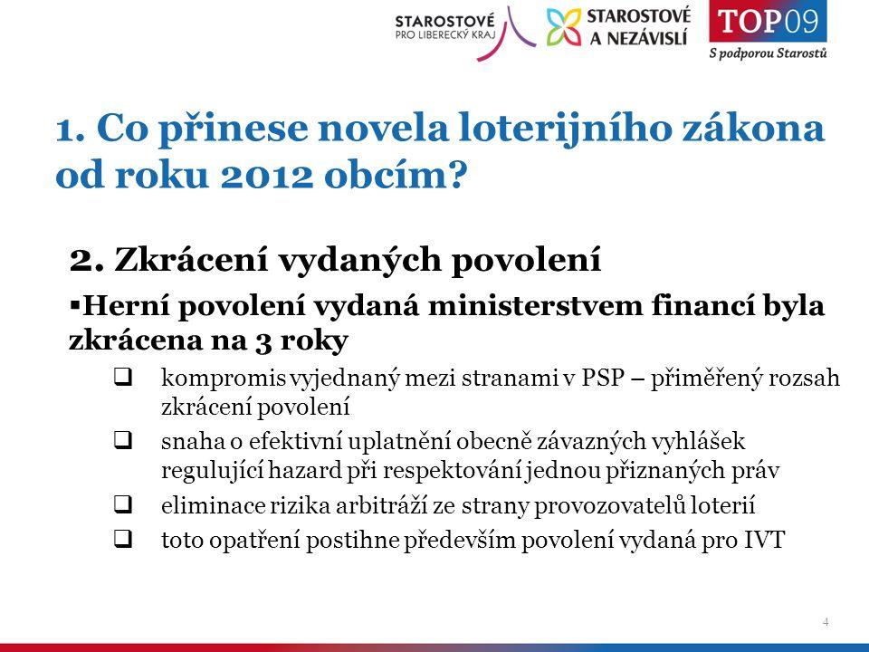 5 1.Co přinese novela loterijního zákona od roku 2012 obcím.