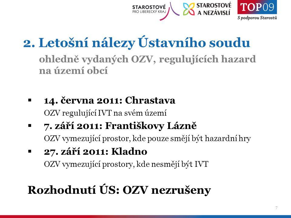 7 2. Letošní nálezy Ústavního soudu  14. června 2011: Chrastava OZV regulující IVT na svém území  7. září 2011: Františkovy Lázně OZV vymezující pro