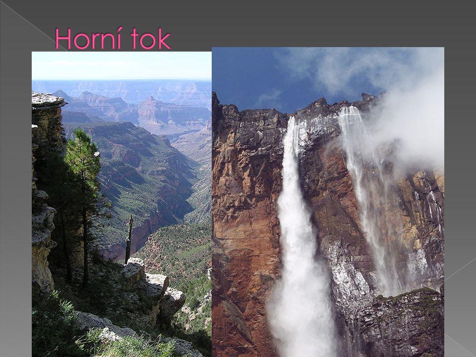  řeka překonává velký výškový rozdíl  převažuje hloubková eroze  údolí má tvar písmene V (obr.1)  vznikají soutěsky, kaňony (obr.2)  vodopády (obr.3)  obří hrnce