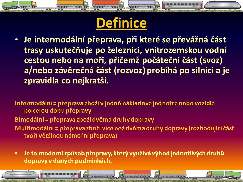 Definice Je intermodální přeprava, při které se převážná část trasy uskutečňuje po železnici, vnitrozemskou vodní cestou nebo na moři, přičemž počáteč