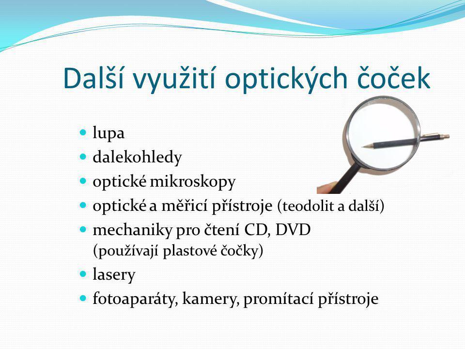 Další využití optických čoček lupa dalekohledy optické mikroskopy optické a měřicí přístroje (teodolit a další) mechaniky pro čtení CD, DVD (používají