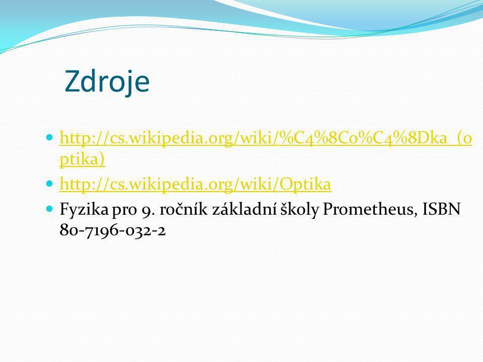 Zdroje http://cs.wikipedia.org/wiki/%C4%8Co%C4%8Dka_(o ptika) http://cs.wikipedia.org/wiki/%C4%8Co%C4%8Dka_(o ptika) http://cs.wikipedia.org/wiki/Opti