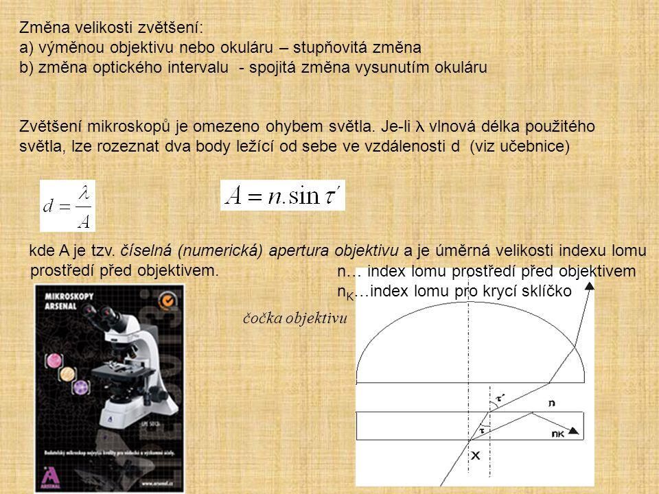 Změna velikosti zvětšení: a) výměnou objektivu nebo okuláru – stupňovitá změna b) změna optického intervalu - spojitá změna vysunutím okuláru Zvětšení