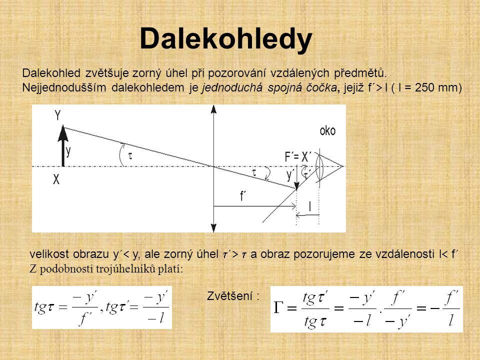 Dalekohledy Dalekohled zvětšuje zorný úhel při pozorování vzdálených předmětů. Nejjednodušším dalekohledem je jednoduchá spojná čočka, jejiž f´  l (