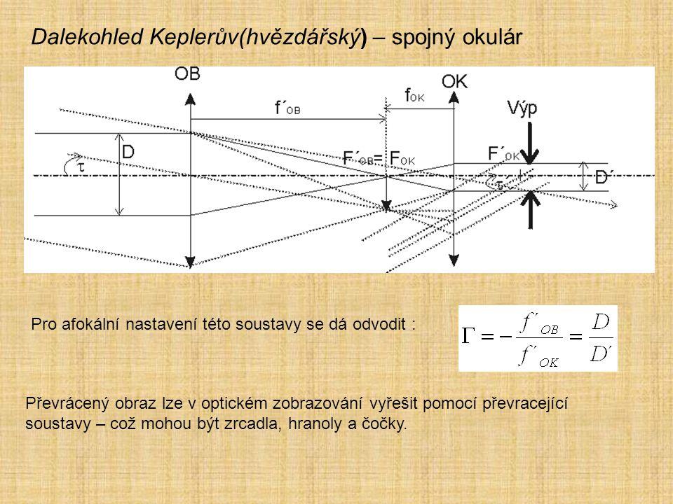 Dalekohled Keplerův(hvězdářský) – spojný okulár Pro afokální nastavení této soustavy se dá odvodit : Převrácený obraz lze v optickém zobrazování vyřeš