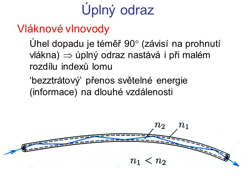 Úhel lomu závisí na indexech lomu, které závisejí na vlnové délce Normální disperze – rychlost světla klesá s frekvencí  index lomu roste s frekvencí Disperze světla 11 řidší hustší 22 n 1 > n 2 n f > n č 11 řidší hustší 22 n 1 < n 2 fialové světlo se láme více