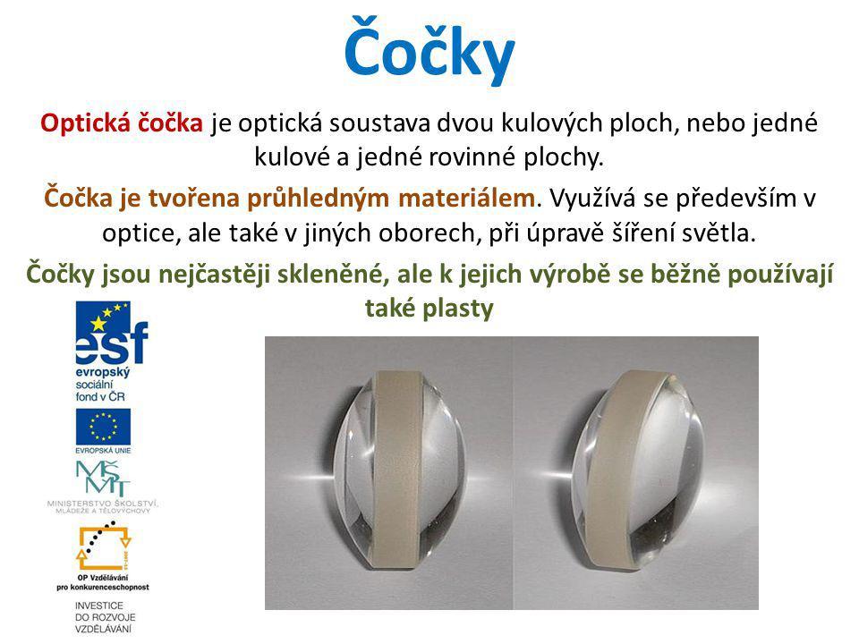 Čočky Optická čočka je optická soustava dvou kulových ploch, nebo jedné kulové a jedné rovinné plochy. Čočka je tvořena průhledným materiálem. Využívá