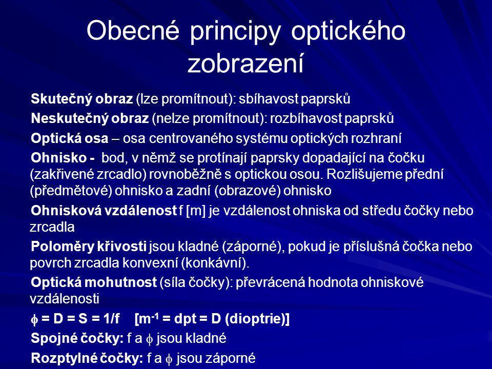 Obecné principy optického zobrazení Skutečný obraz (lze promítnout): sbíhavost paprsků Neskutečný obraz (nelze promítnout): rozbíhavost paprsků Optick
