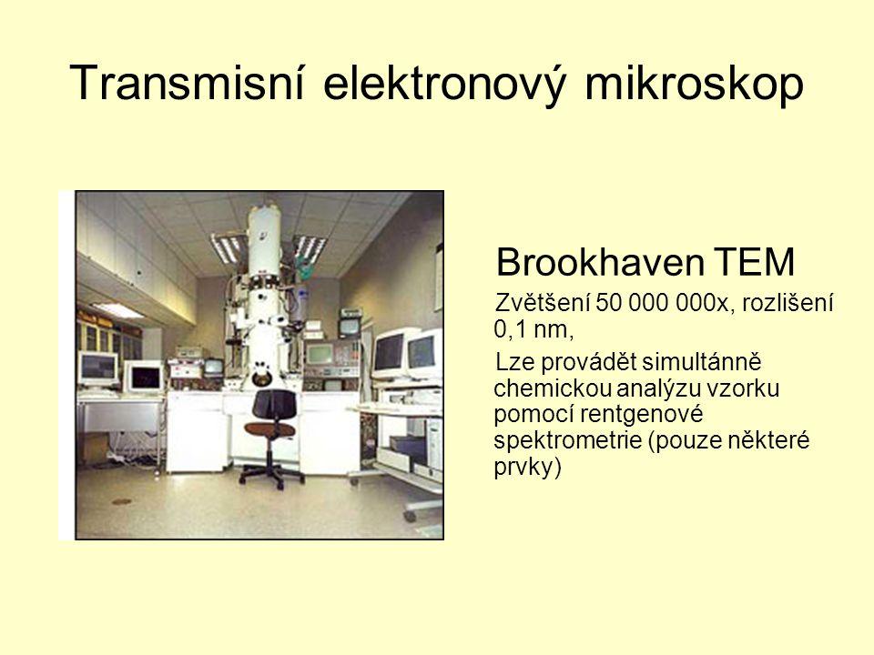 Transmisní elektronový mikroskop Brookhaven TEM Zvětšení 50 000 000x, rozlišení 0,1 nm, Lze provádět simultánně chemickou analýzu vzorku pomocí rentgenové spektrometrie (pouze některé prvky)