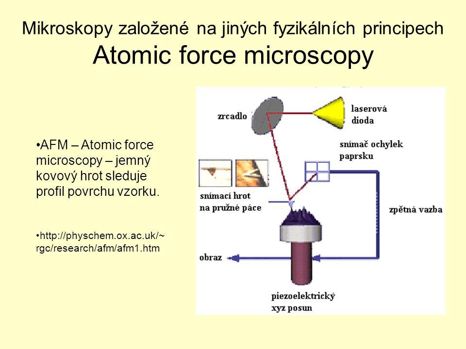 Mikroskopy založené na jiných fyzikálních principech Atomic force microscopy AFM – Atomic force microscopy – jemný kovový hrot sleduje profil povrchu vzorku.