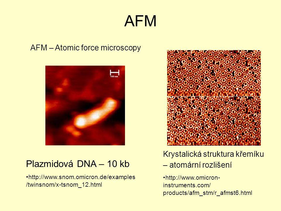 AFM AFM – Atomic force microscopy Plazmidová DNA – 10 kb http://www.snom.omicron.de/examples /twinsnom/x-tsnom_12.html Krystalická struktura křemíku – atomární rozlišení http://www.omicron- instruments.com/ products/afm_stm/r_afmst6.html
