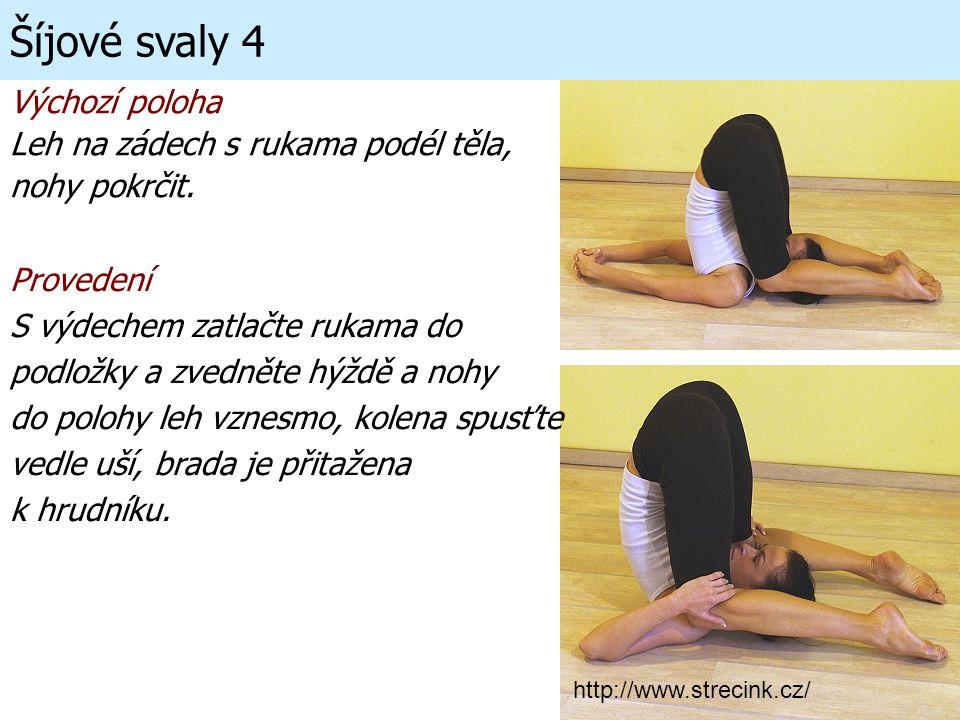 Šíjové svaly 4 Výchozí poloha Leh na zádech s rukama podél těla, nohy pokrčit. Provedení S výdechem zatlačte rukama do podložky a zvedněte hýždě a noh