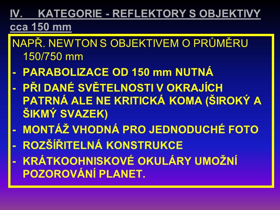 III. KATEGORIE - REFLEKTORY S OBJEKTIVY DO 150 mm NAPŘ. NEWTON 114/500mm; 114/900mm;114/1000mm -KULOVÁ PLOCHA (PARABOLIZACE do průměru 150 mm není nut