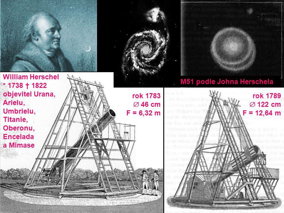 rok 1783  46 cm F = 6,32 m rok 1789  122 cm F = 12,64 m William Herschel * 1738 † 1822 objevitel Urana, Arielu, Umbrielu, Titanie, Oberonu, Encelada